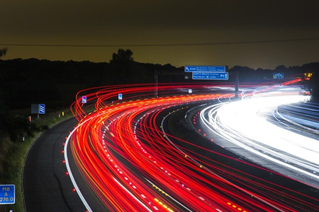 fast moving motorway at night
