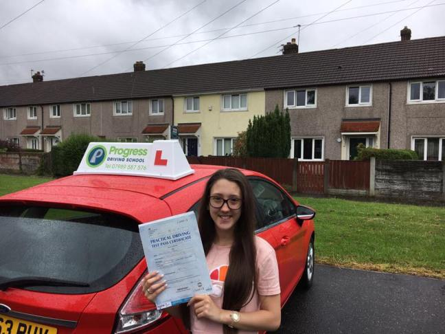 Leah Ainsworth, who passed with Progress Driving School