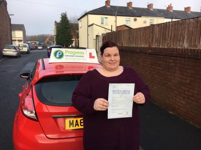 Nichola Jones passed her driving test with Progress Driving School